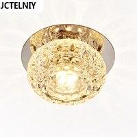Espelho corredor Lâmpada Do Teto Do Corredor Varanda Iluminação Para Baixo de Cristal Mordern Superfície Montada 5 w LED Luzes de Teto Para Sala de estar
