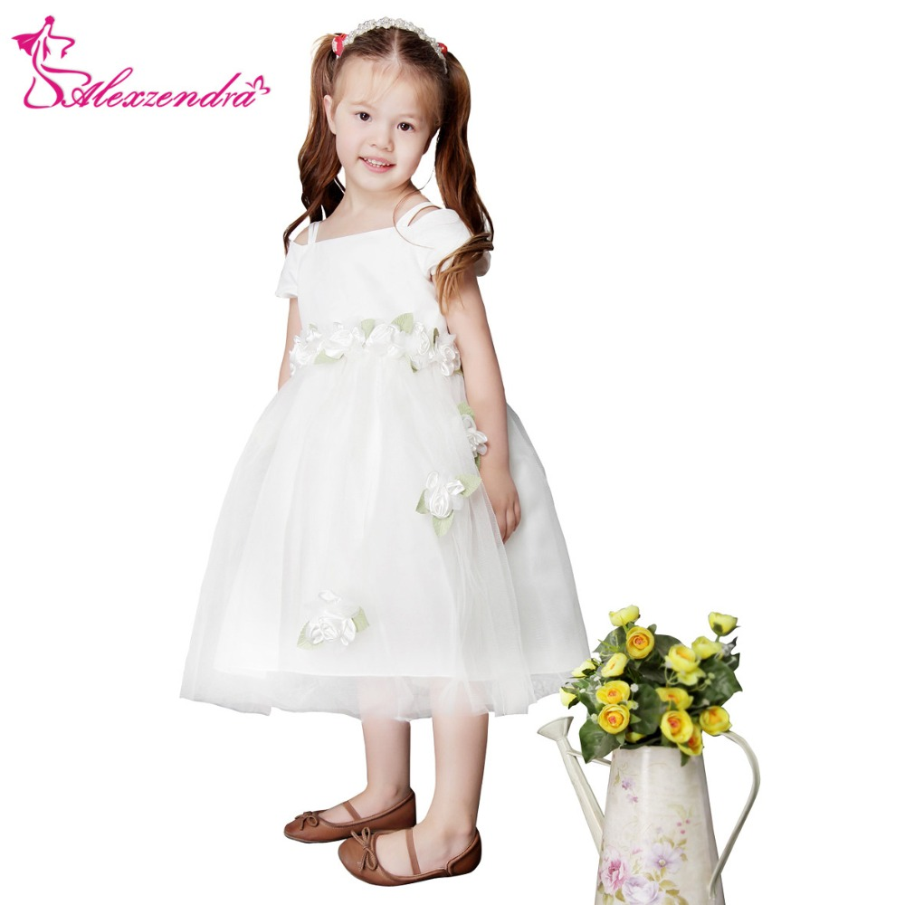 Alexzendra Tea Length White Ivory   Flower     Girls     Dresses   with Sash   Girls   First Communion   Dress   Princess   Girl     Dress
