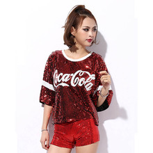 Women Stage Performance Tops Sequined Letter Sexy Girl Hip Hop clothing Female  Costumes Free size Loose 9a22726bba0c