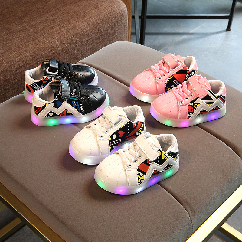 New 2018 fashion printing LED shoes baby Elegant glowing tennis sports girls boys sneakers excellent European baby first walkers