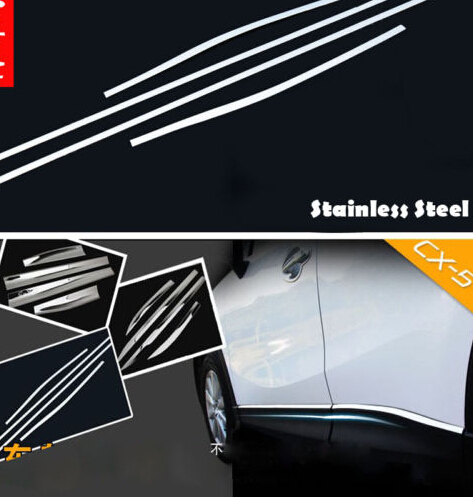 4PCS Stainless Car door Side Molding Trim cover Protector For Mazda CX5 CX-5 2012 2013 2013 2014 high quality abs chrome door side line garnish guard body molding cover case for 2012 2016 mazda cx 5 cx5 protector trim
