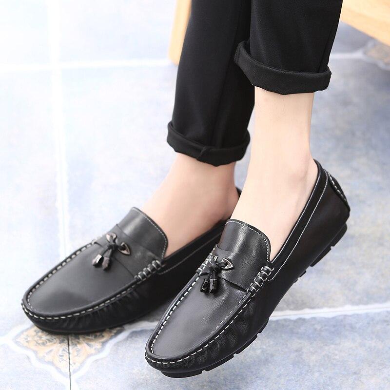 Zapatos Calidad Negro Alta Cuero Marca on Hombres Holgazanes Pisos De Doug Ayakkabi Lujo Slip Genuino Moda Heinrich Erkek 15wqf66