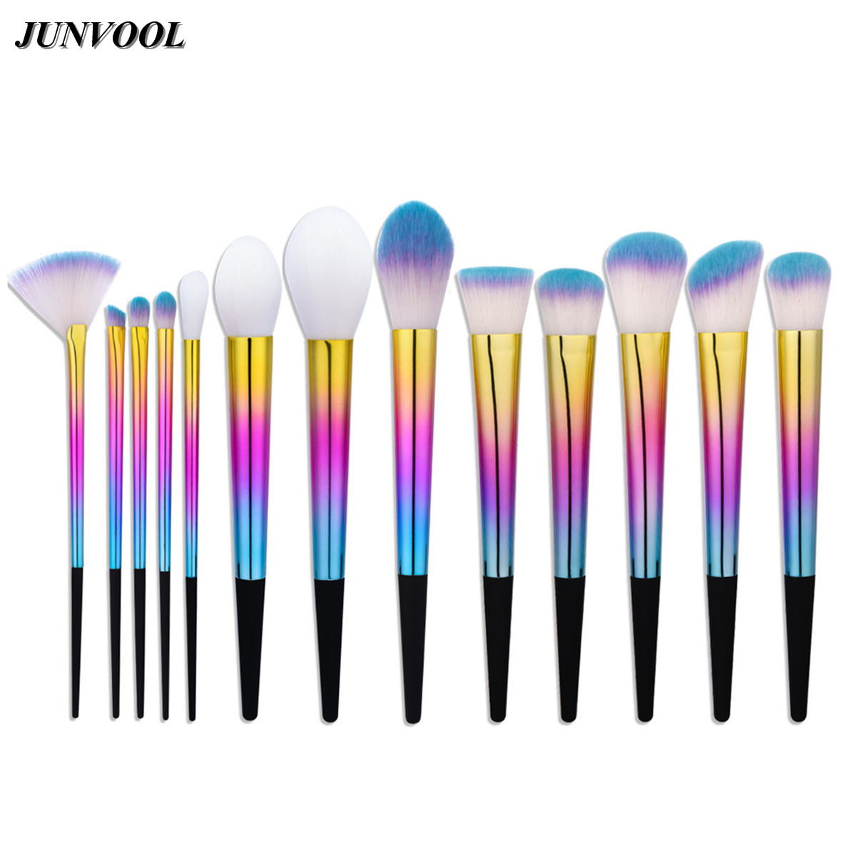 13Pcs Rainbow Makeup Brushes Set Kit Professional Foundation Eyeshadow Lip Fan Brush Tool Beauty Cosmetic Tools Pincel Maquiagem peny skateboard wheels longboard 22 retro mini skate trucks fish long board cruiser complete tablas de skate pp women men skull