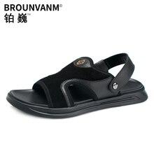 купить Roman sandals men Genuine Leather  non-skid breathable new mens beach shoes men soft bottom outdoor casual fashion anti-skid дешево