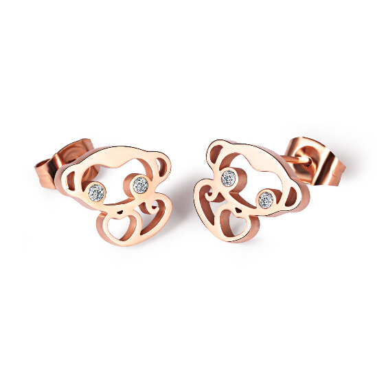 1193e1715 Martick Fashion Animal Monkey Stud Earrings For Woman Birthday Present Rose  Gold Color Hollow Out Brincos