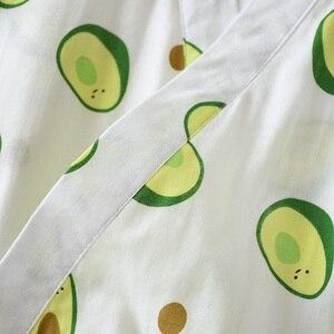 Image 5 - Frische Und Natur Frauen Nachthemd Avocado Gedruckt Sommer Komfort Gaze Baumwolle Nachtwäsche Kimono Bademantel Lose Dünne Weibliche Homewea