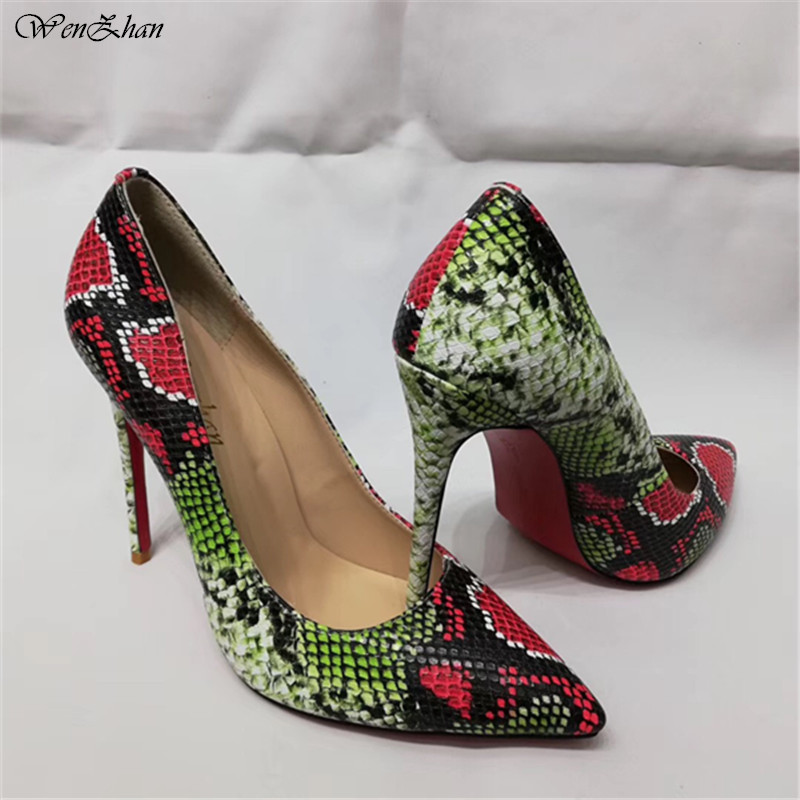 NEW spring women high-heeled pumps pu leather ladies high heels shoes shallow party Thin Heels pumps Snake prints WENZHAN A92-27