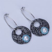 New Natural Freshwater Pearl Pave Blue Black Rhinestone Hollow Disc Round Pendant Beads Charms Big Dangle