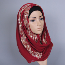 Woman hijab Solid Color Rhinestone Shining Sequins High Quality Chiffon Silk Popular Shawls Scarf Headband Muslim Turban Formal
