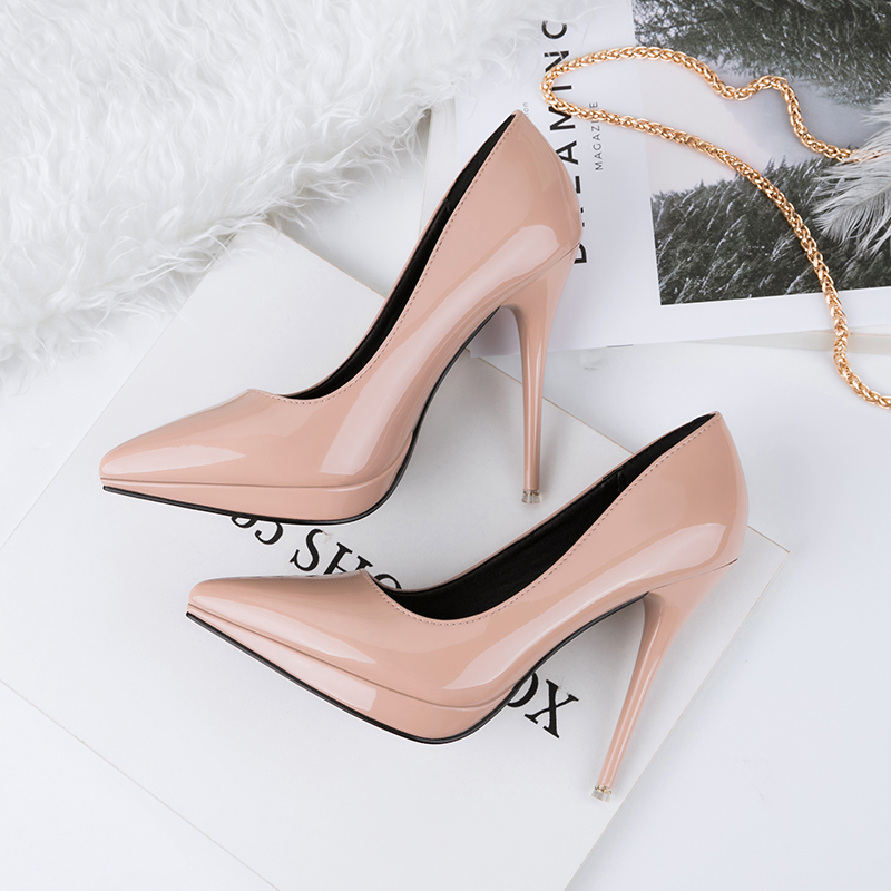 2018 Women 11cm High Heels Pumps Lady Sexy Pointed Platform Heels Female Escarpins Footwear Nude Purple Tacones Scarpins Shoes