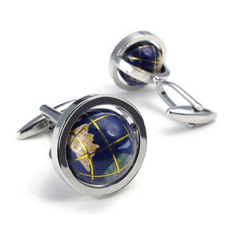 Jewellery 2pcs Mens Globe Shirts Cufflinks, Wedding, Blue 1 Pair (with Gift Bag)