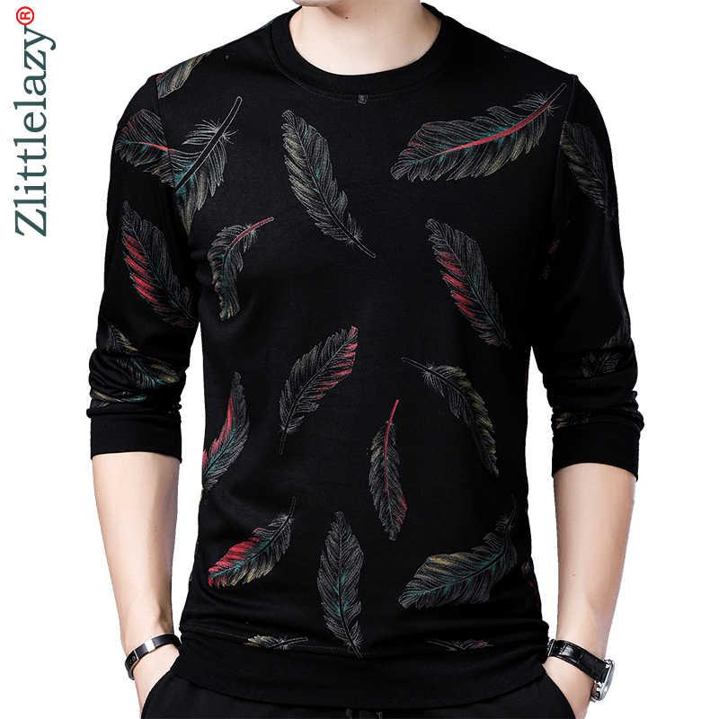 2019 デザイナープルオーバーフェザー男性セータードレス薄型ジャージーニットセーターメンズスリムフィットニットファッション服 41241