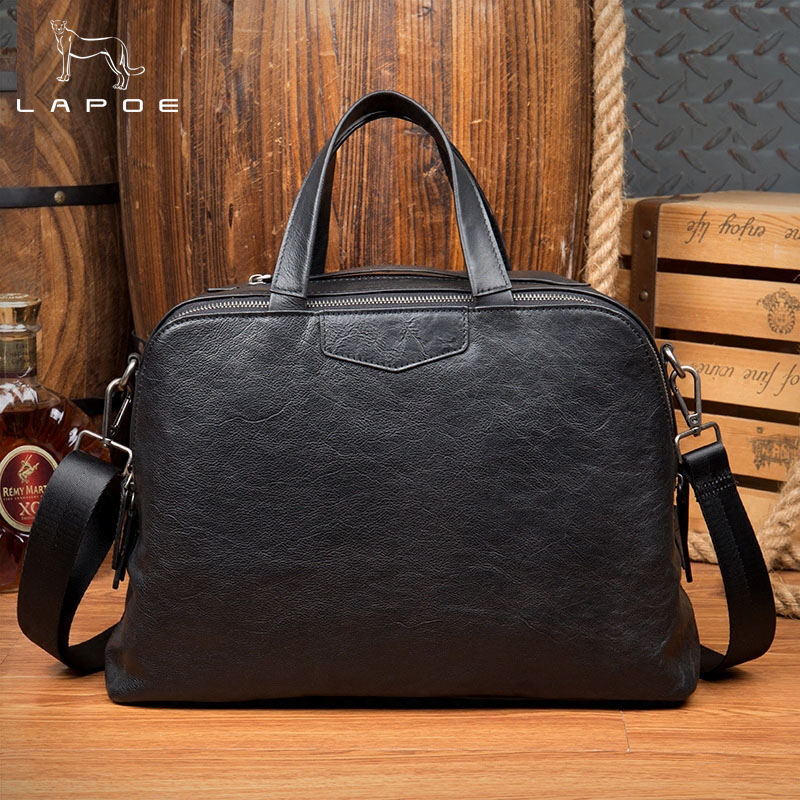 LAPOE 100% Genuine Leather Briefcase Men Bag Cowhide Handbag 14 Inch Laptop Shoulder Bags Tote Natural Skin Men Briefcase все цены