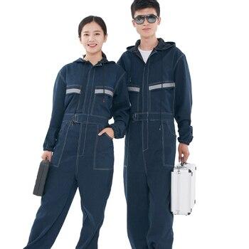 Джинсовые комбинезоны, рабочая одежда для мужчин и женщин, с длинными рукавами, с капюшоном, комбинезоны, рабочая одежда для сварки, авто рем...