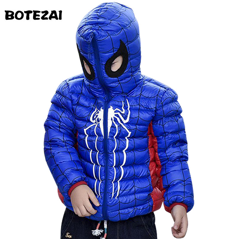 Hooded Winter Children Jackets For Girls Boys Warm Down Coat For Girl Clothing Fashion Outwear Spiderman Thicken Down Jackets fashion girl thicken snowsuit winter jackets for girls children down coats outerwear warm hooded clothes big kids clothing gh236