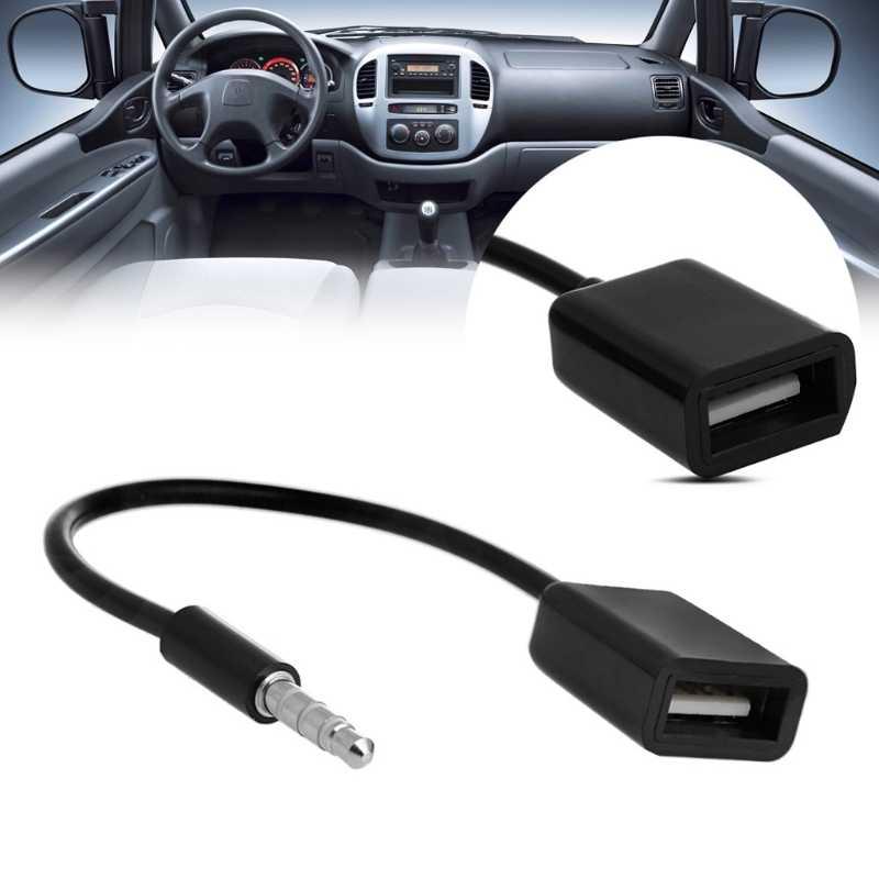 3.5 مللي متر الذكور AUX وصلات صوت جاك إلى USB 2.0 الإناث محول كابل الحبل الاب سيارة MP3