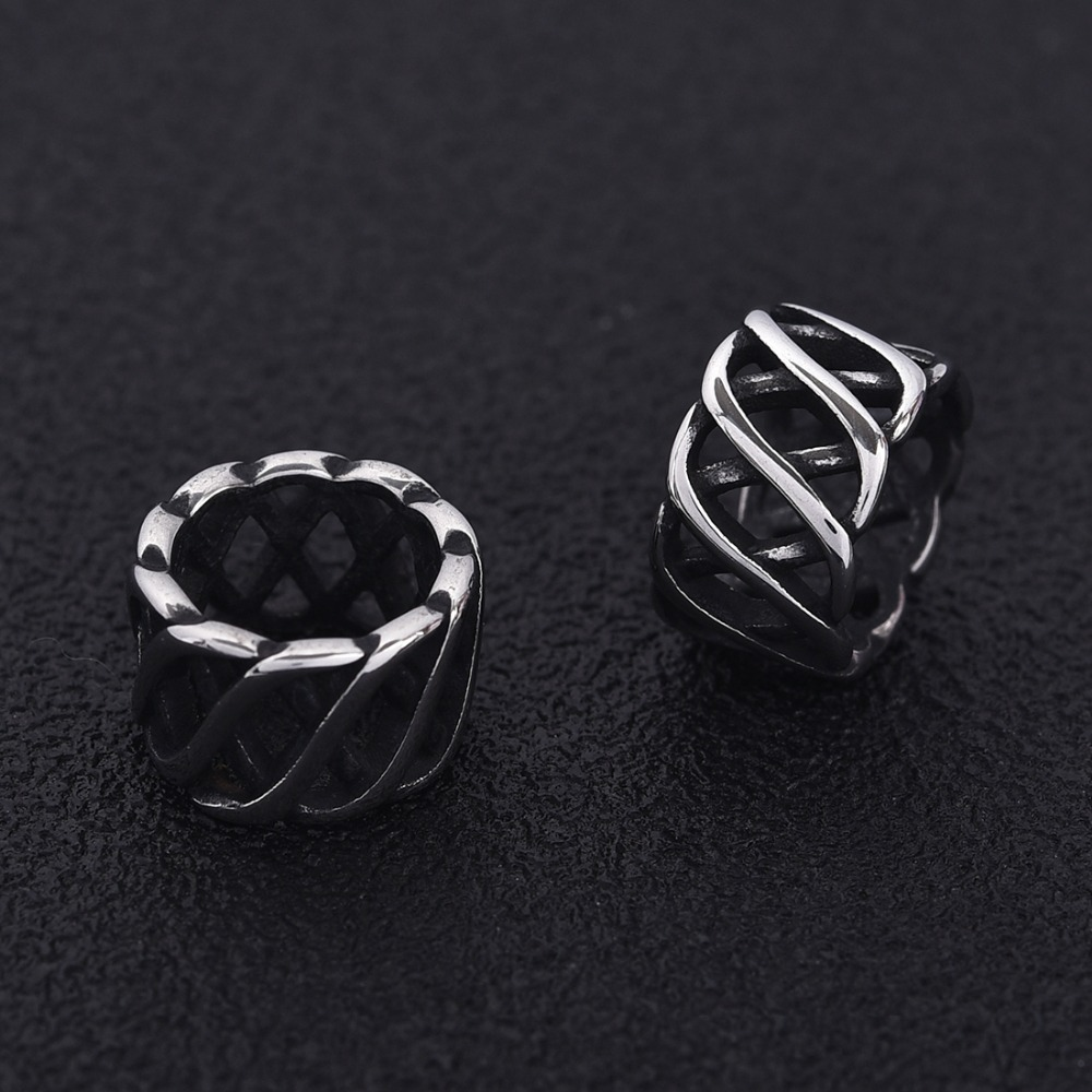 Stainless Steel Hollow Beads Large Hole 8mm Metal Slide Charm Rondelle Bead Blacken for DIY Bracelet Men Jewelry Making finding