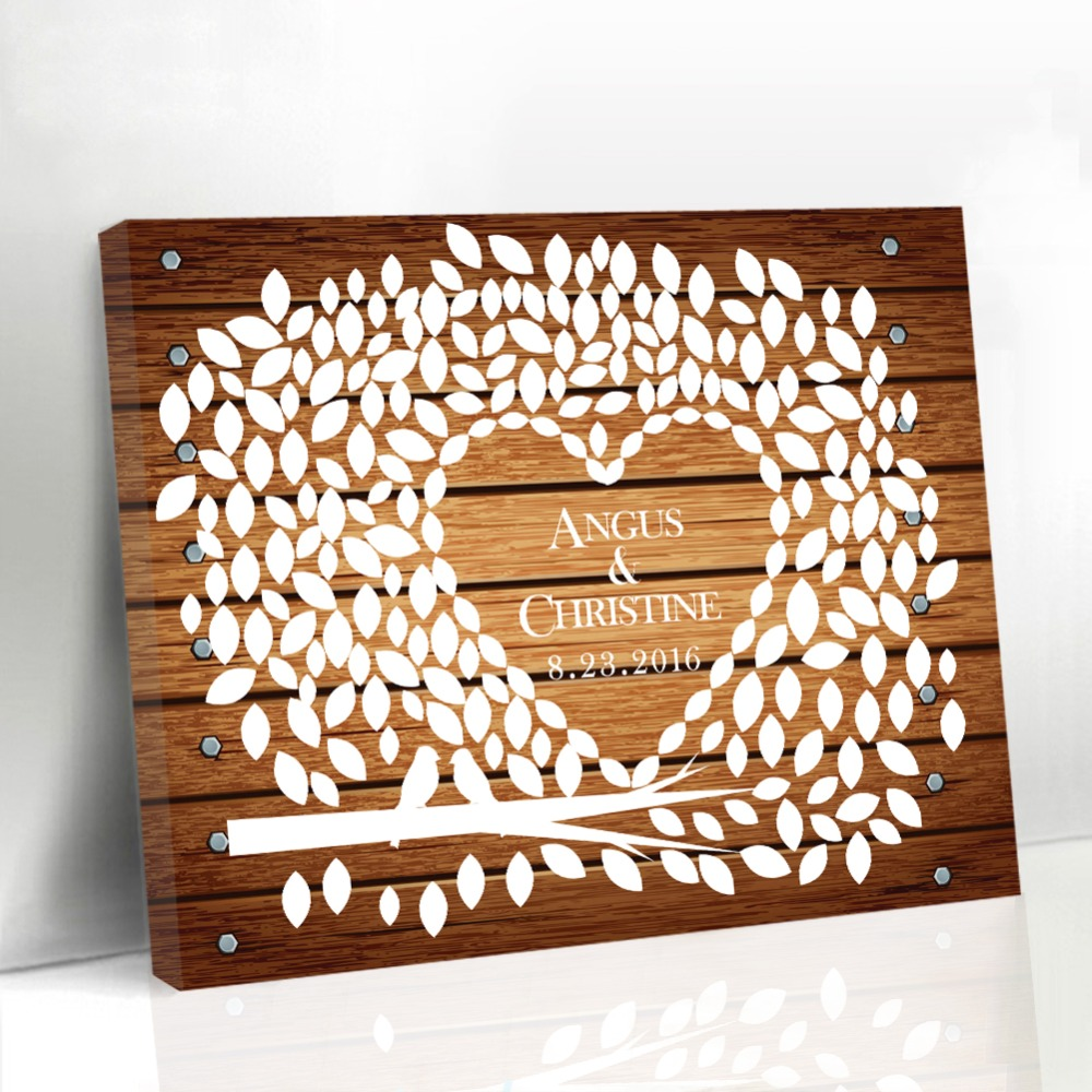 wedding canvas guest book wood framed leaf tree with birds and heart guest book bridal shower