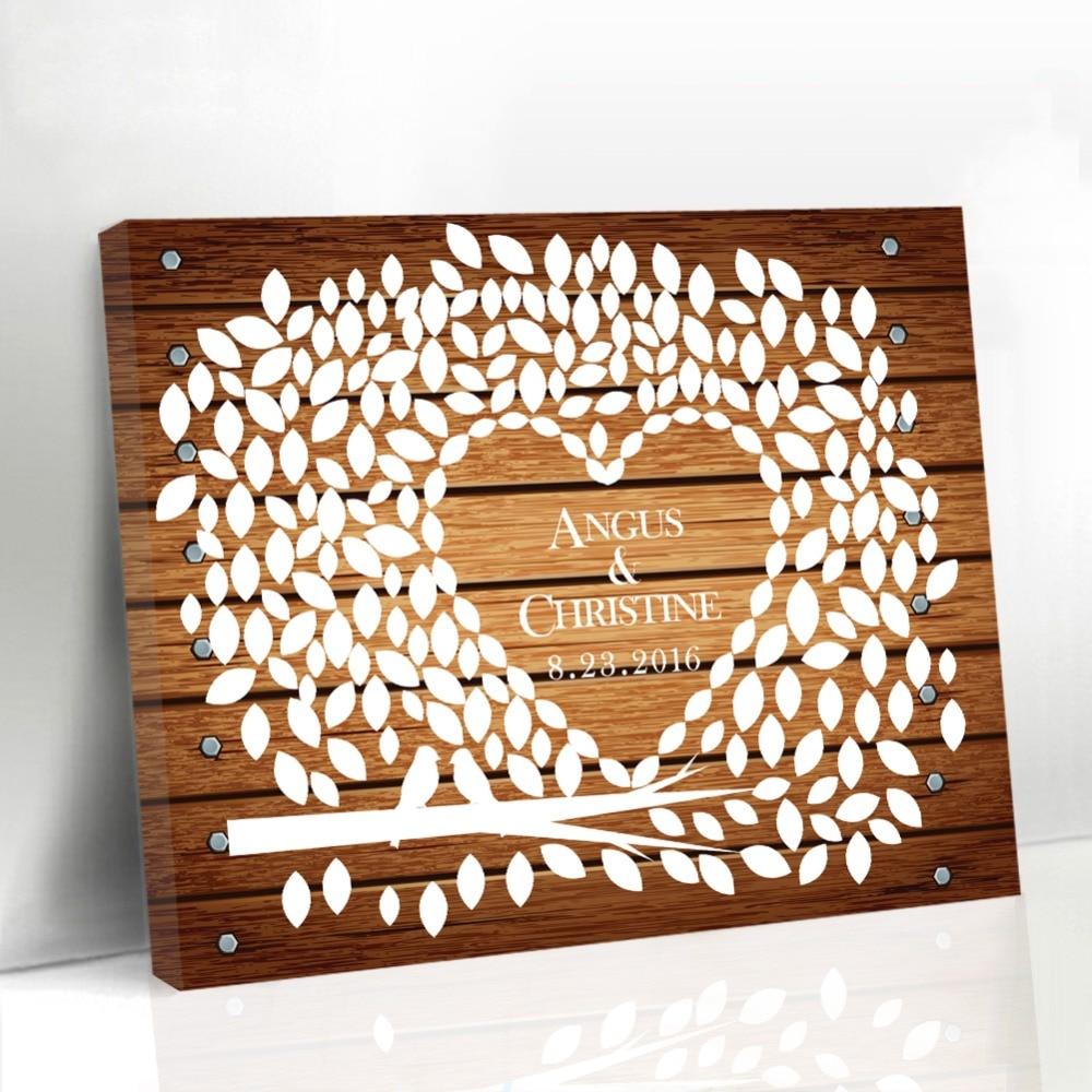 Wedding Canvas Guest Book Wood Framed Leaf Tree With Birds