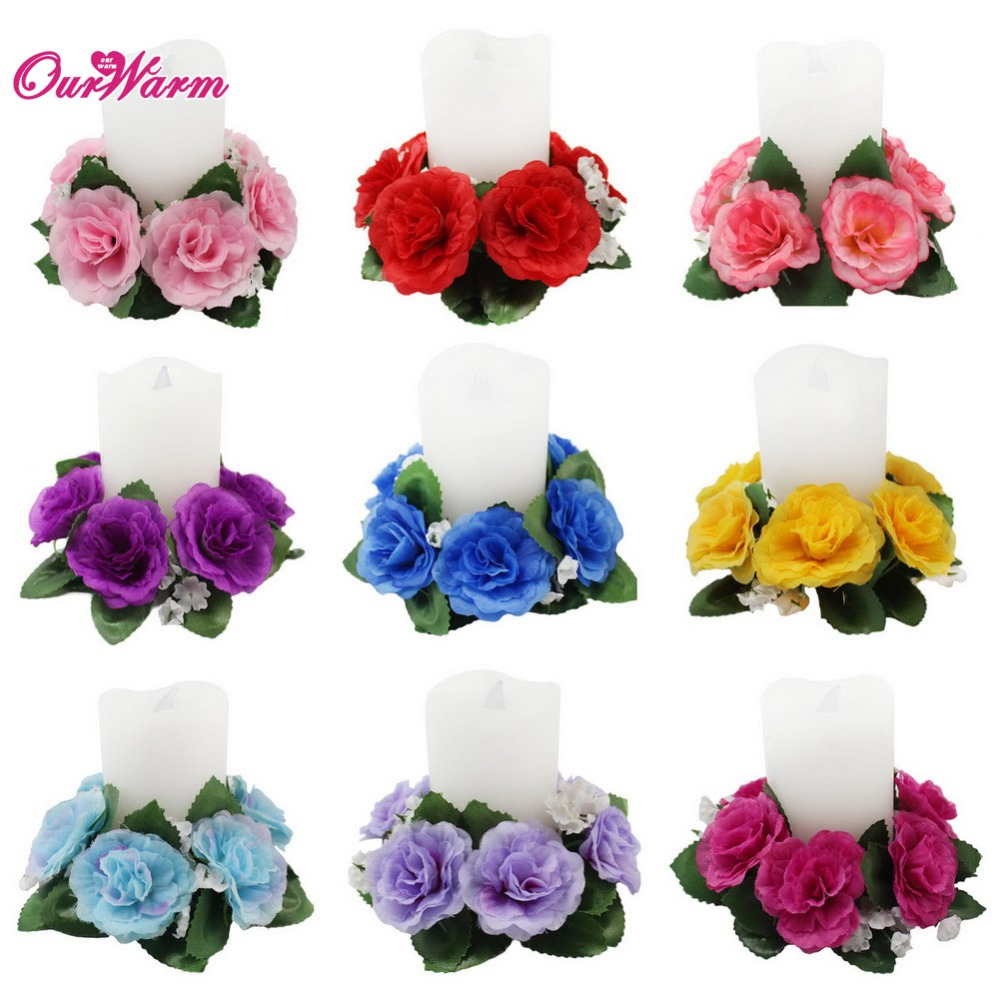 floral candle rings 3510cm wedding silk roses flowers unity candle party home vase