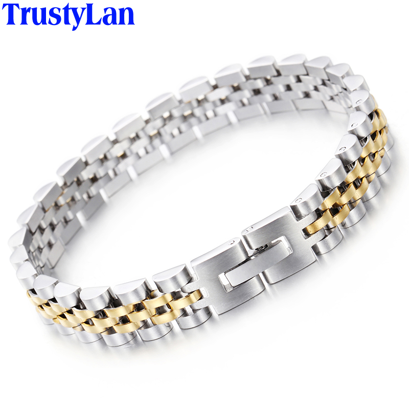 TrustyLan Aliexpress Stainless Steel Bracelet Men Gold Color