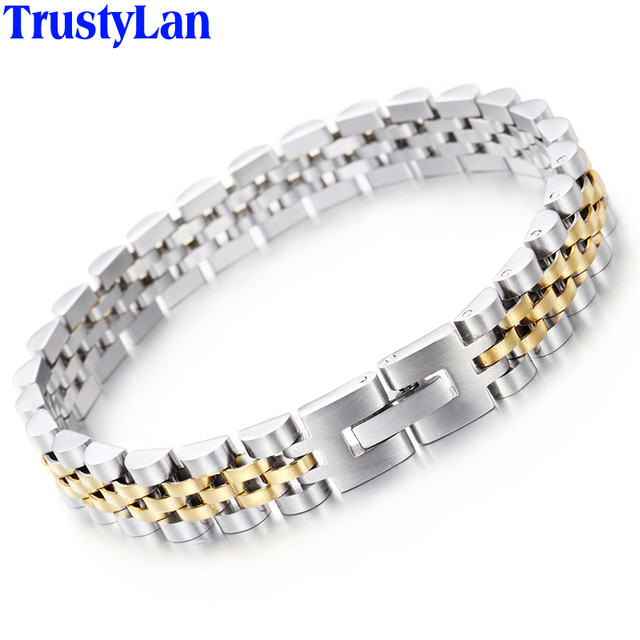 Trustylan Luxury Stainless Steel Bracelet Men Golden Watchband Design S Bracelets Bangles For Man Jewelry