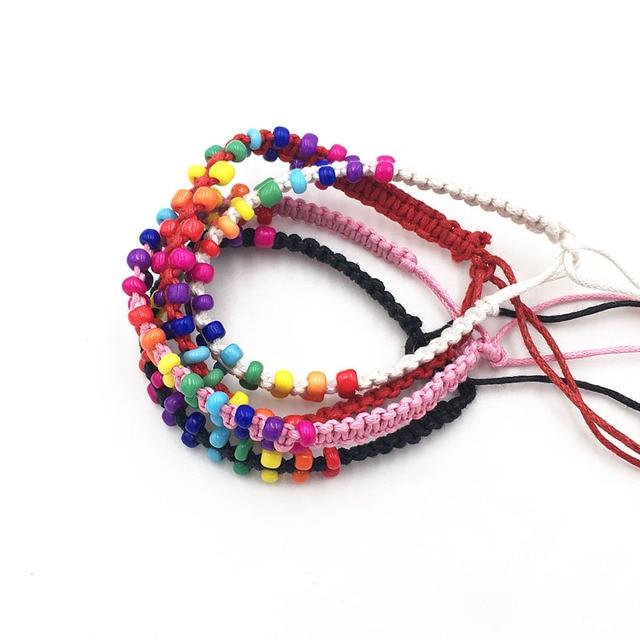 Leenahar 1pc Colorful Acrylic Beads Hemp Friendship Woven Rope Bracelets Handmade Braided Hippie For