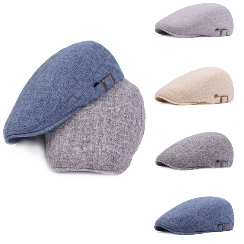 Mens Berets Cotton Linen Newsboy Gatsby Cap Golf Driving Flat Cabbie Beret Hat Elastic Buckle Casual Solid Berets Autumn Men Hat