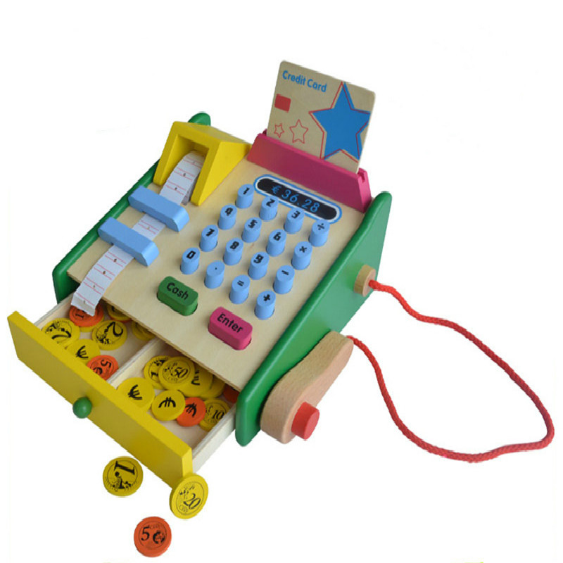 Wooden cash register toys children play house simulation sup