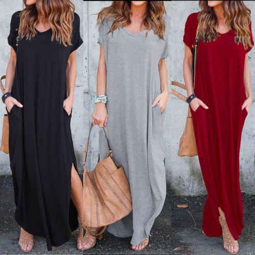 183c9325903 NEW Women Cotton Short Sleeve Long Maxi Dress Top V-Neck Beach Evening  Loose Plus