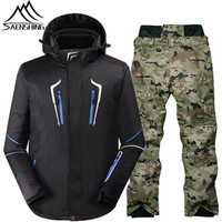 Winter New Men Ski Suit Outdoor Mountain Skiing Suit For Male Waterproof Windproof Snowboarding Suits Thicken