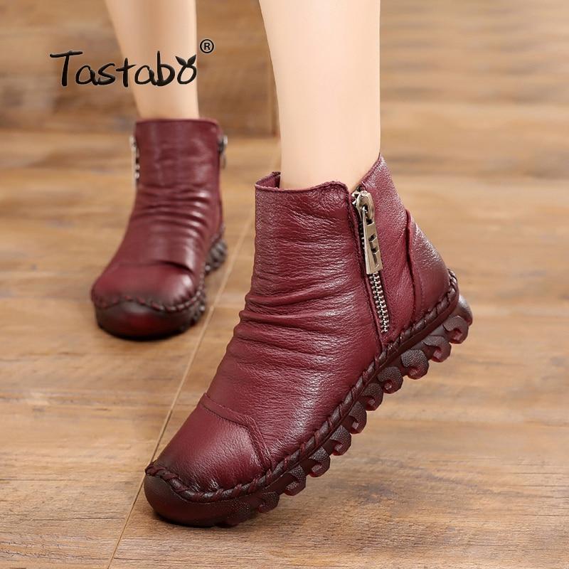 Tastabo 겨울 부츠 여성 정품 가죽 발목 부츠 플러시 내부 수제 레이디 소프트 플랫 신발 캐주얼 여성 신발-에서앵클 부츠부터 신발 의  그룹 1
