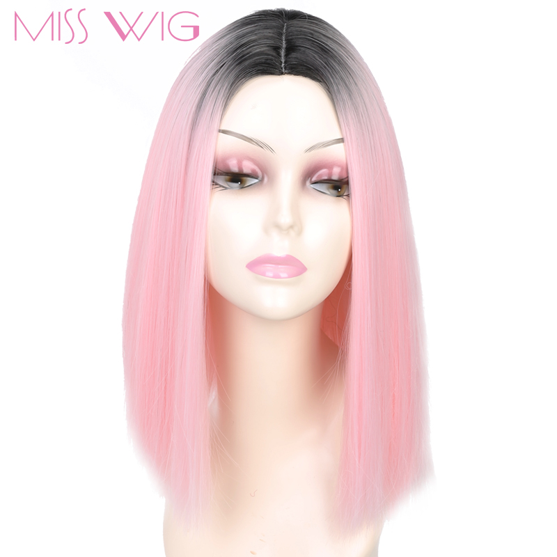 MISS WIG Pink Ombre Black Blonde Blue Gray Wig Long
