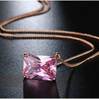 Shineland New Women Ladies Fashion Popular White Rose Gold Plated Pink Green Crystal Cubic Zirconia Necklace