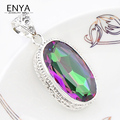 ENYA New Arrival Vintage Style Rainbow Fire Mystic Synthetic Topaz Silver Plated Pendants For Women Jewelry P0064