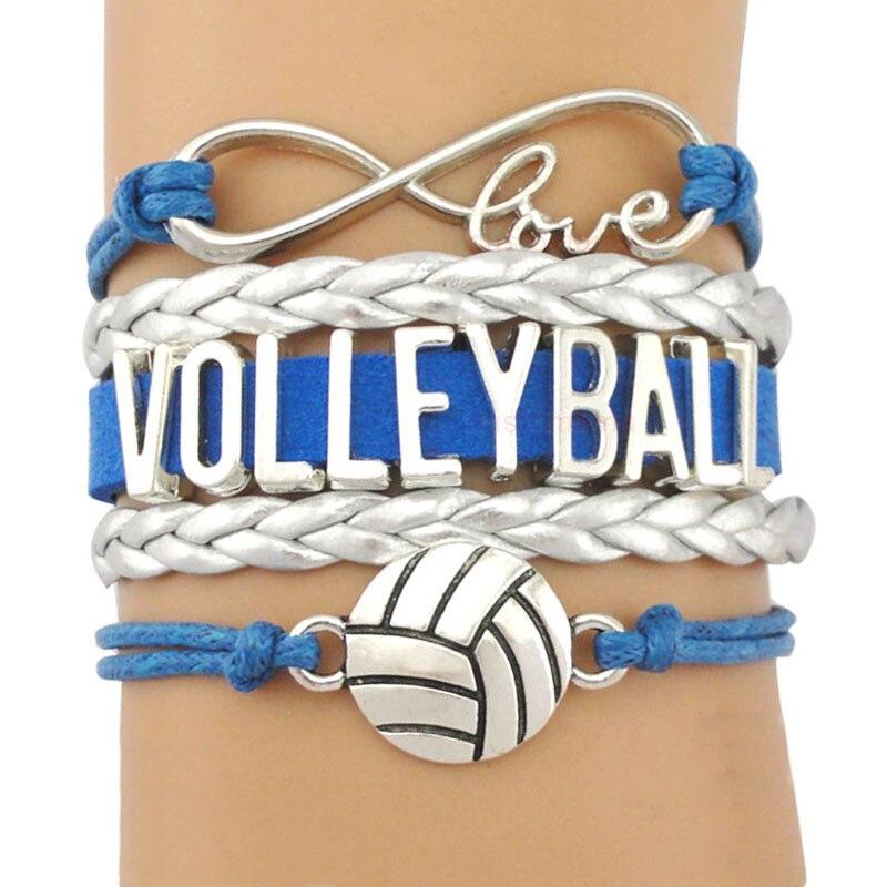 Volleyball Golf Sports Infinity Love Charm Bracelets Silver Royal Handmade Adjustable Jewelry Women Men Boy Drop Shipping Gift