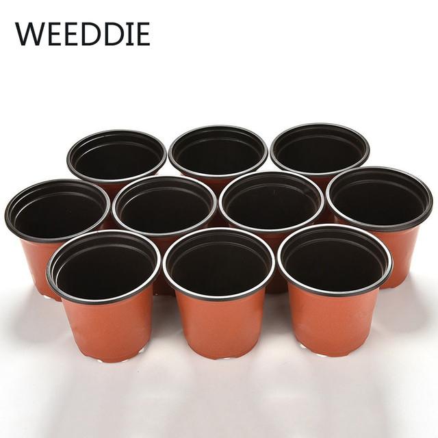 10pcs Round Home Garden Office Decor Planter Plastic Plant Flower Pots Flowerpot