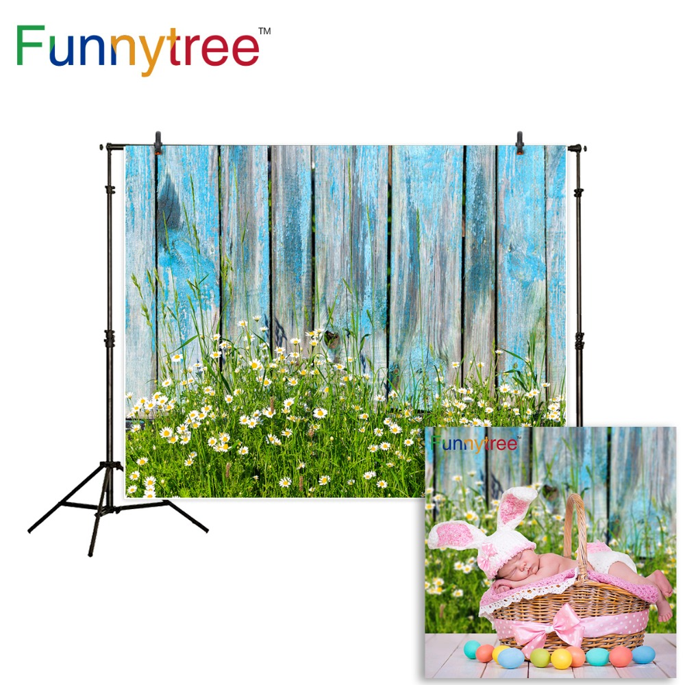 Funnytree photography background spring flower grass old wood wall children easter backdrop photocall photo studio printed