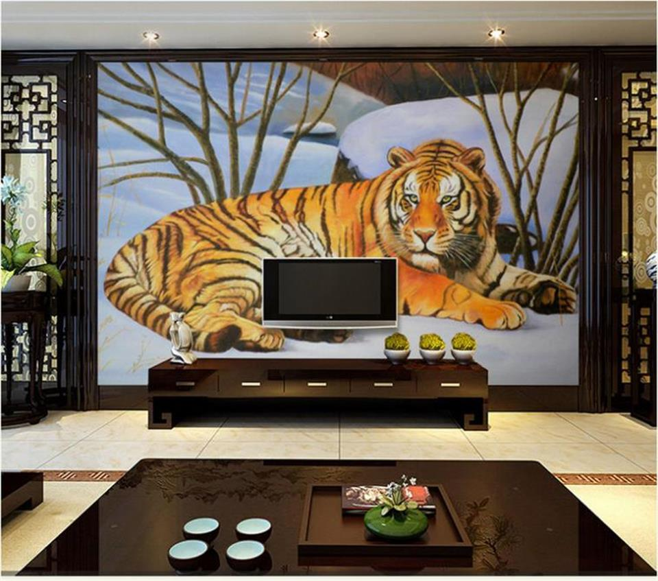 Custom 3D Photo Wallpaper Living Room Murals Tiger On Snow Background Oil Painting Eco-Friendly Non-Woven Wallpaper For Wall 3D shinehome black white cartoon car frames photo wallpaper 3d for kids room roll livingroom background murals rolls wall paper