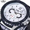 Os homens Assistir Top Marca de Luxo Winner Automático Mecânica Relógios de Pulso Homens de Negócios Calendário de Discagem Giratória Herren Uhren