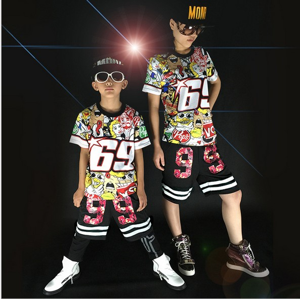 Free shipping children Adult short sleeved graffiti Hip Hop hiphop DS Jazz Dance  Costumes clothes T shirt  Leotard Harem Pants