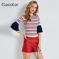 Clocolor Women Kintted Shirts Pullovers Butterfly Half Sleeve Autumn Tops 2017 New Fashion Slim Striped Blouse