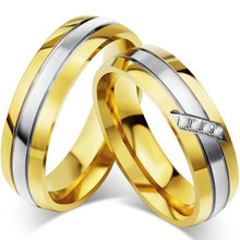 Titanium Steel Lover Crystal Ring Golden Wedding Engagement Titanium Steel Micro-inlaid Zircon Couple Ring anillos mujer(China)