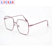 лучшая цена Fashion Finished Myopia Glasses Big Square Frame Metal Shorted Sighted Eyeglasses Women Men Retro Nearsighted Spectacles A3
