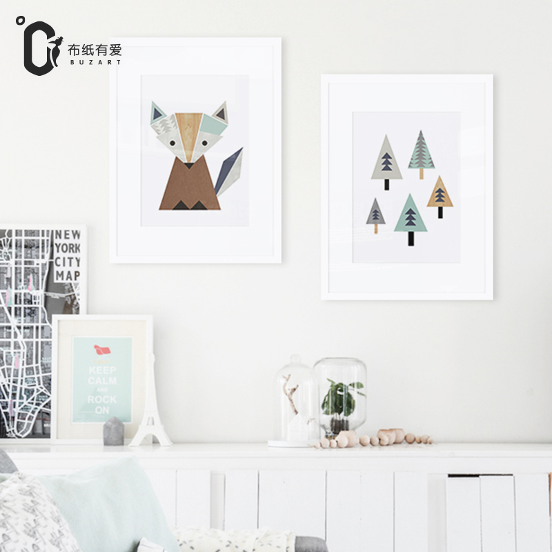 Lovely Fox and trees canvas painting Nordic kids room Posters  prints  Wall art home decoration No Frame