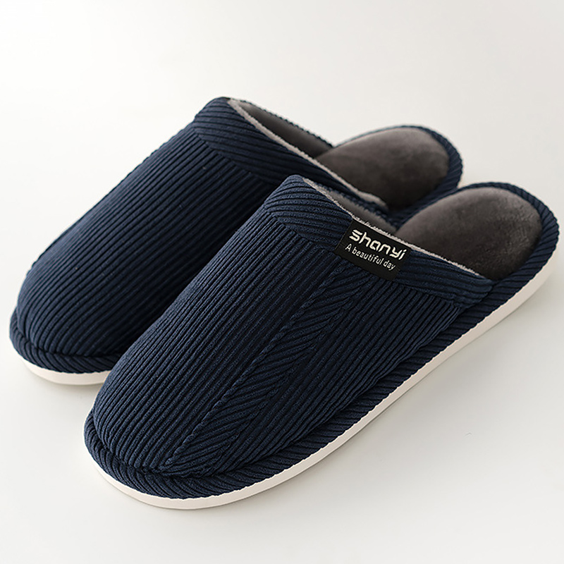 Men Slippers Short Plush Designer Slippers House Man Winter Solid Warm Non-slip Flock Men Shoes 2019 New Arrival