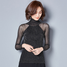 Long Sleeves lace spliced sexy women's clothing turtleneck Tops