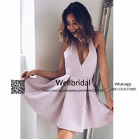 2017 Off Shoulder Graduation Homecoming Dresses Short Elastic Satin Wedding Party Dress Homecoming Cocktail Party Dress