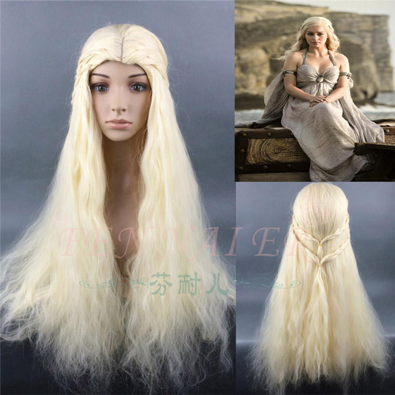 Game of Thrones Daenerys Targaryen Cosplay Wig Synthetic Hair Long Wavy Dragon of Mother Wigs Halloween Party Wig+ Wig Cap
