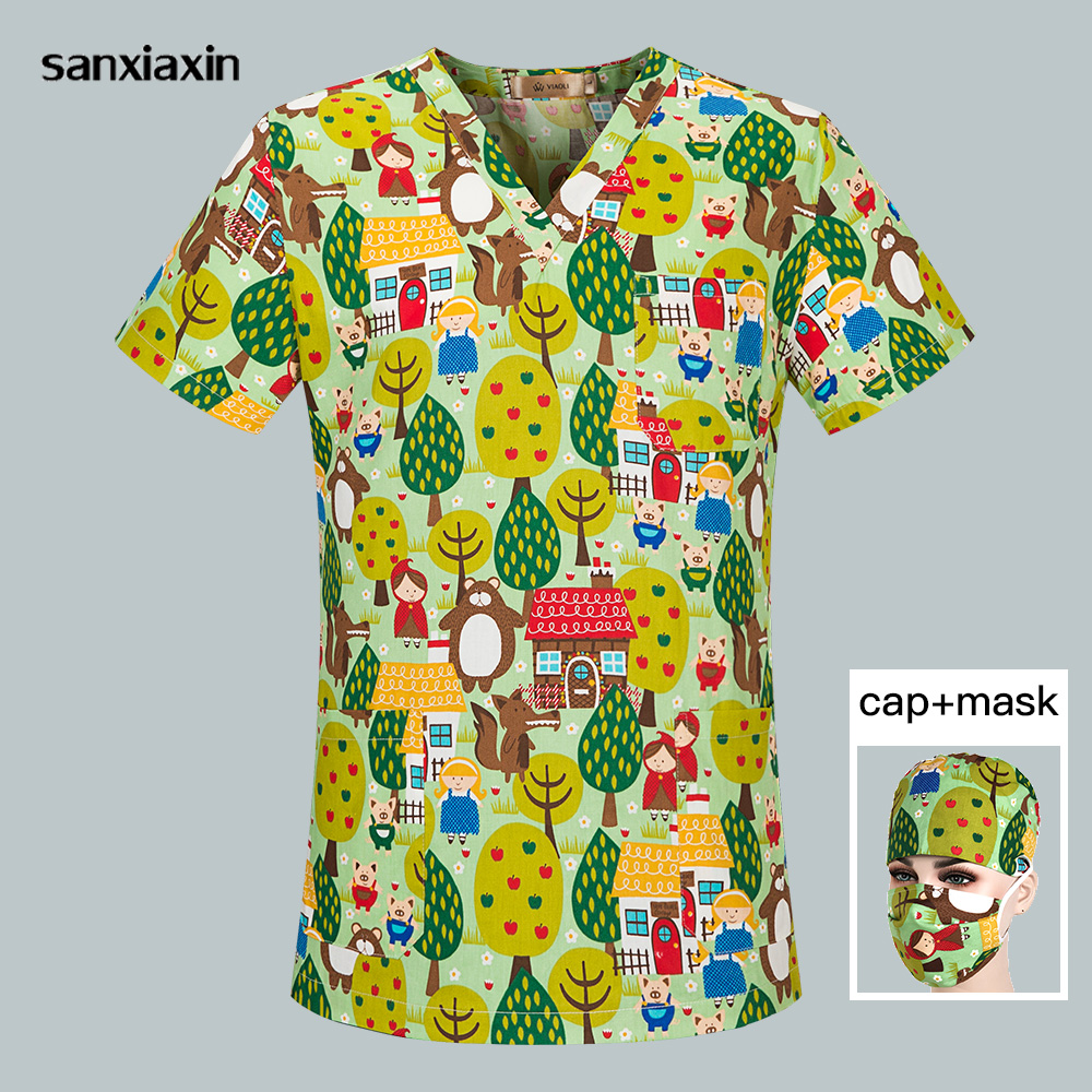 High Quality Nursing Scrubs Medical Uniform Dental Clinic Work Uniform Cartoon Printing Unisex Pet Nurse Doctor Top+cap+mask Set